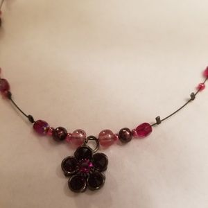 Flower red necklace